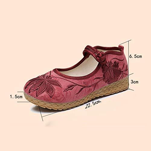 Rojo Rojo Vino Mujeres o De Planos De La Chinos De Bordados Moda Zapatos Zapatos De Tama La Vino Ballet Zapatos Las Tela 38 Vendimia De Elegantes XHX Color q1BpS