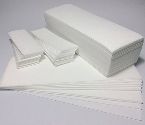 New Begin Salon Quality Non-Woven Wax Strips - Facial and Full Body Sizes Available, 200 Wax Strips (100 Small,100 Large)