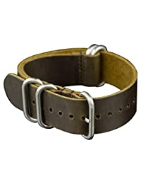 INFANTRY® 22mm 5 Rings Genuine Leather Watch Strap Band Stainless Steel Buckle - Medium Brown