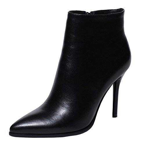 Womens Pointed Toe Boots - VOCOSI Women's High Heels Ankle Boots Leather Pointed Toe Zipper Classic Booties Black 41 CN