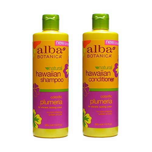 Hawaiian Hair Wash Replenishing Plumeria and Hawaiian Hair Conditioner Replenishing Plumeria Bundle With Pineapple, Papaya, Quinoa, Aloe and Ginger, 12 fl. oz. Each