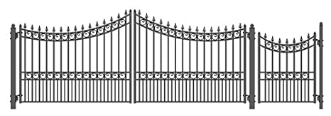 ALEKO SET16X4MOSD Moscow Style Galvanized Dual Swing Steel Gate Set Driveway Security Gate & Pedestrian Gate Black MOSCOWDUALWPEDCOM