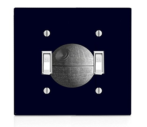Popular Sci-Fi Death Star Print Double Light Switch Plate
