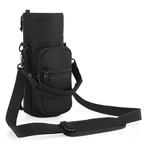 Barbarians Water Bottle Carrier, Bottle Pouch Holder with Adjustable Shoulder/Hand Strap with 2 Pockets for 16oz 17oz 20oz 24oz 25oz 32oz 40oz, Black
