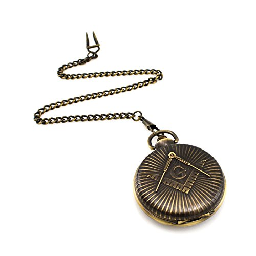 Pocket Watch Mechanical Plated (Hofun Vintage Steampunk Skeleton Mechanical Pocket Watch with Chain for Men Woman Gifts (HF79))