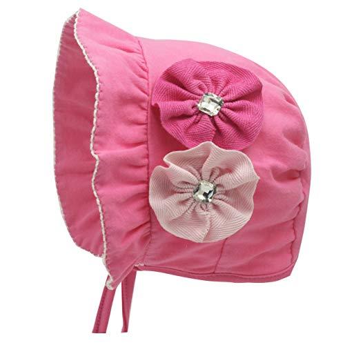 Bonnet for Baby Girls Vintage Floral Bonnet Newborn nb Hats Infant Bow Beanie Cap (Hot Pink Bonnet with Flowers, 6-12 Months)
