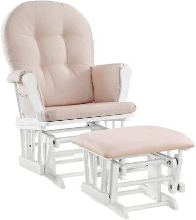 Windsor Glider and Ottoman White Finish and Pink Cushions Enclosed metal bearings Solid wood frame