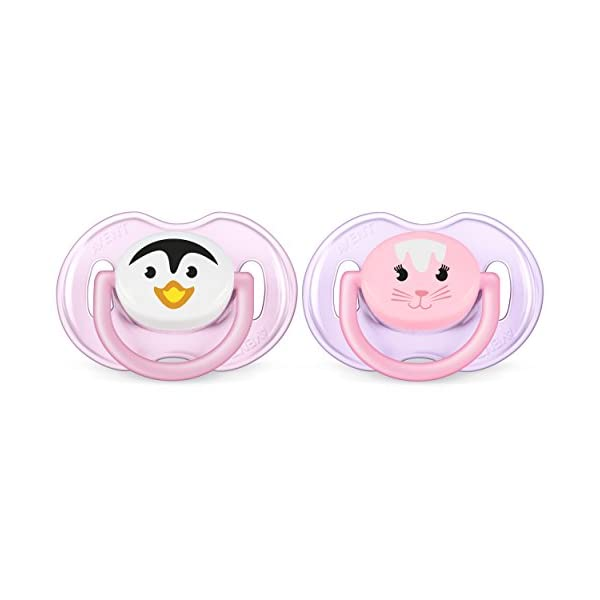Philips AVENT Soother Animal 2 Piece, Pink/Purple, 0-6 Months