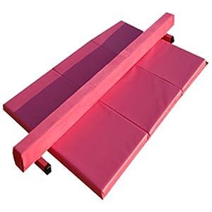 8ft Pink Suede Balance Beam and Pink Folding Panel Mat