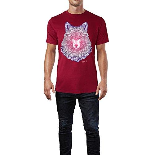 SINUS ART ® Fliederfarbener Fuchskopf mit Ornamenten Herren T-Shirts in Independence Rot Fun Shirt mit tollen Aufdruck