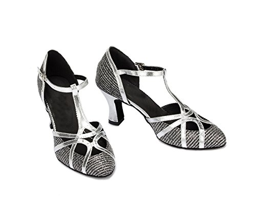 Heel Wedding Strap Comfortable Miyoopark Latin Women's Black T Shoes 7cm Close Glitter Toe Shoes Tango Dance 4TxaZfw