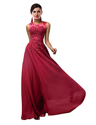 ThaliaDress Women Long Sheer Neck Evening Bridesmaid Dresses Prom Gowns T004LF Deep Red US10