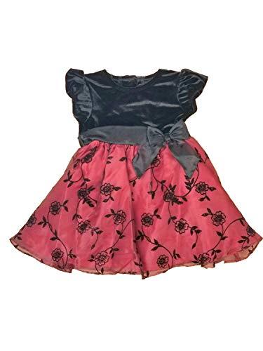 Rare Too! Infant Baby Girls Black Velvet Maroon Flowered Christmas Holiday Party Dress 24M]()
