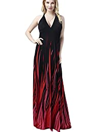 Yacun Women's Flame Design Halter Sexy Maxi Dress Evening Gown Plus Size