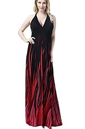 YACUN Women's Flame Sexy Halter Maxi Evening Gown Dress Plus Size Black L