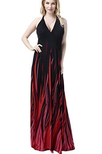 Yacun Women's Flame Sexy Halter Maxi Evening Gown Dress Plus Size Black -