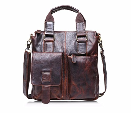 Sikye Vintage Buffalo Leather Messenger Satchel Laptop Briefcase Men's Bag Crazy Horse Leather (Brown)