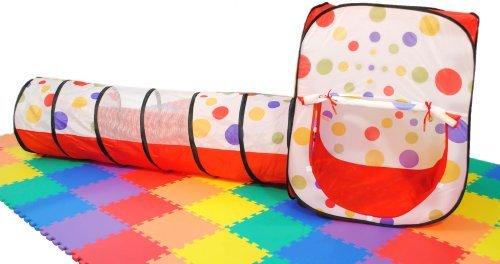 (eWonderWorld Polka Dot Rectangular Twist Play Tent w/ Crawl Tunnel, Safety Meshing for Child Visibility & Tote: 2 Piece )