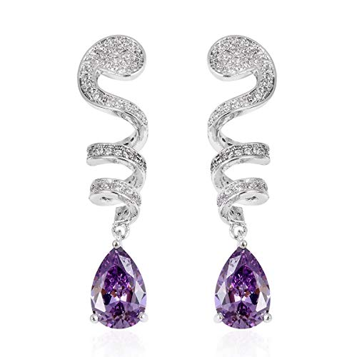 (Swirl Dangle Drop Earrings Pear Purple and White Cubic Zircon Silvertone Jewelry for Women Ct 4.9)
