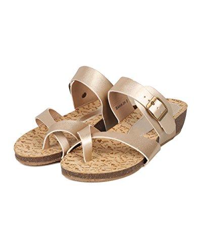 Alrisco Women Leatherette Low Wedge Sandal - Split Toe Instep Strap Casual- HA52 by Champagne Metallic E24RFV