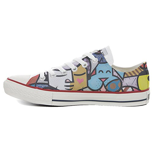 Converse All Star Low Customized personalisierte Schuhe (Handwerk Schuhe) Slim Turtle Flowers