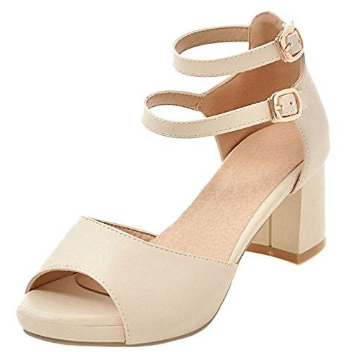 TAOFFEN Ladies Wedding Dress Sandals Peep Toe Block Heel Bride Shoes Beige wycxpQvV