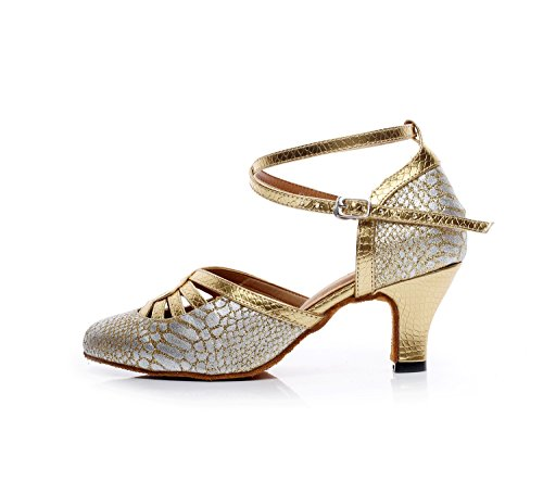 Minishion Tqj7055 Mujeres Cross Strap Tango Sintético Latin Ballroom Dance Pumps Zapatos De Oro