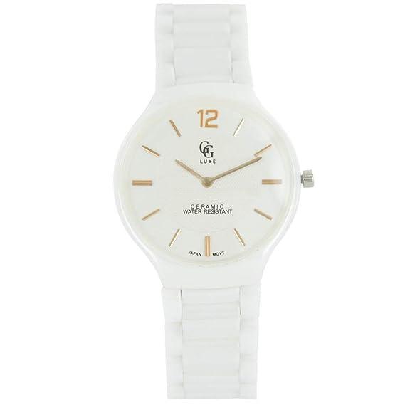 Elégante Reloj Mujer cerámica Blanco G Luxe 2026: Amazon.es ...