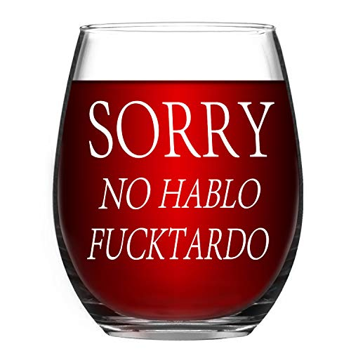 Funny Wine Glass Sorry No Hablo Fuctardo Novelty Stemless Wine Glass 15 Oz – Funny Birthday Gift for Women Men Friends BFF Sister Coworkers
