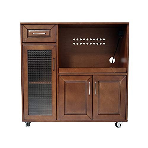 Lowboy Cabinets - Circlelink Wood Rolling Kitchen Microwave Cabinet with Wheels, Walnut Finish