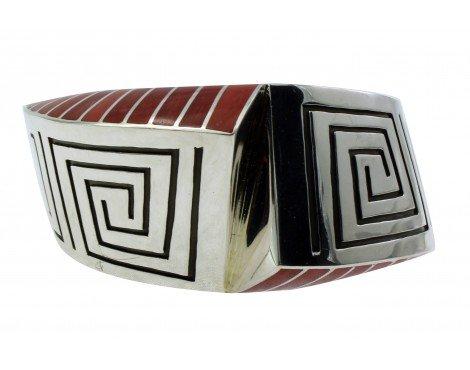 Lonn Parker, Bracelet, Red Mediterranean Coral, Inlay, Silver Overlay,Navajo,6.5