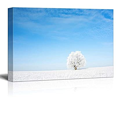 Canvas Prints Wall Art - Alone Frozen Tree in Field and Blue Clear Sky - 12