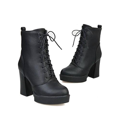 Bandage Girls Leather Heels Chunky Adeesu Boots Platform Imitated Black navRvxw