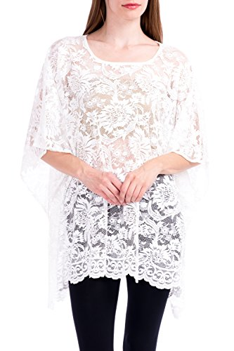 (Modern Kiwi Lace Affair Caftan Poncho Tunic White One)