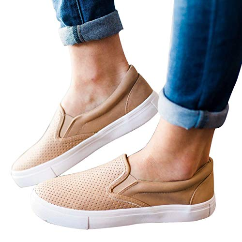 (Paris Hill Women's Perforated Slip-On Sneaker Casual Flat Walking Shoes Camel US 9)
