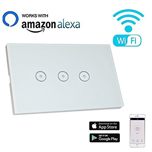 Smart WiFi Light Switch Compatible with Alexa Echo, BOSCHENG Touch Wall Switch Panel 110-240V, Remote Control Your Devices with Smart Phone from Anywhere (3 Switches in 1 Gang)