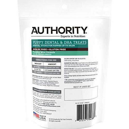 Authority Dental & DHA Stick Dog Puppy Treat - Grain Free, Gluten Free, Parsley Mint