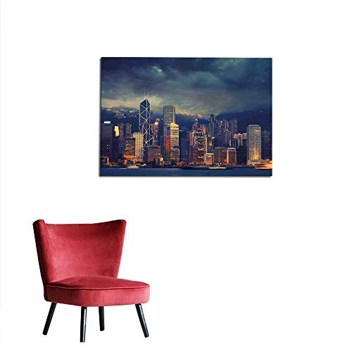 kungfu Decoration Photographic Wallpaper Cityscape,Hong Kong Cityscape Stormy Weather Dark Cloudy Sky Waterfront Port Dramatic View,Navy Gold Wall Poster W23.6 x L19.7 ()