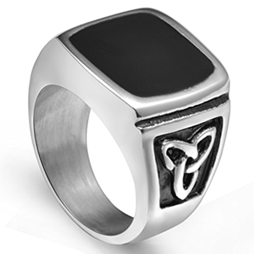 Jude Jewelers Stainless Steel Black Enamel Signet Celtic Ring Size 7-15 (9) -