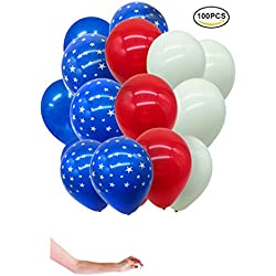 Patriotic Decoration Balloons – Star Latex Balloons Decorations & party supplies – Fourth of July Decorations – Red, White, Blue - 100pcs
