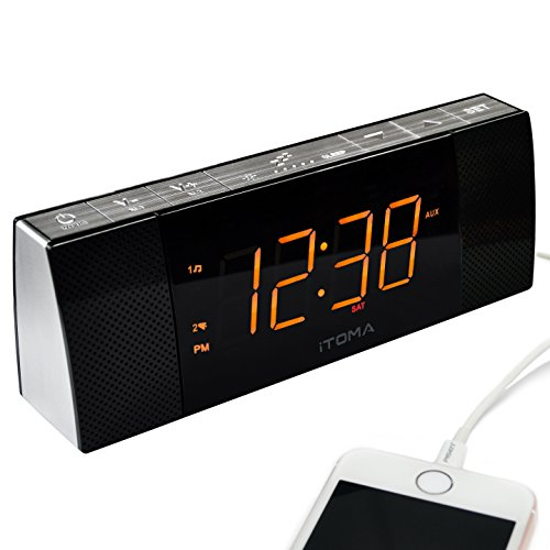 iTOMA Alarm Clock Radio,Digital FM Radio,Wireless Bluetooth Stereo Speakers,Dual Alarm with Snooze,Auto Time Setting,Cell Phone USB Charging,Dimmer, Aux Input, Backup Battery (CKS503BT)