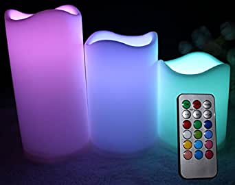 "Flameless LED Indoor Outdoor Candles with Remote Control - 12 Colors to Suit Any Mood, Even Bedroom, Dining or BBQ - 3 Candle Set (Height 3"" 4"" & 5""/ Diameter 3"") Starter Batteries included - Works right out of the box! 1 Year No-Quibble Guarantee"