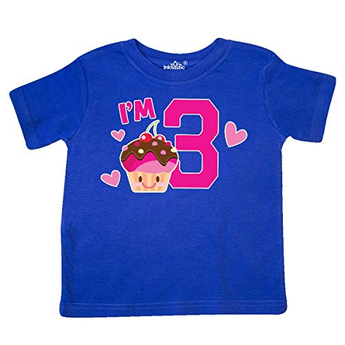inktastic - I'm 3 with Cute Cupcake and Toddler T-Shirt 2T Royal Blue 3641c
