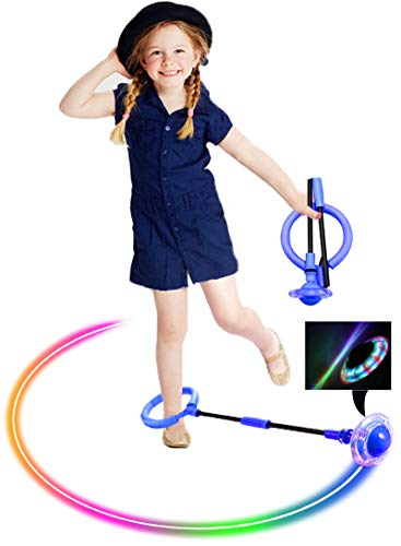 ILNCLUY Skip Ball for Kids, Foldable Ankle Skip Ball Flashing Jumping Ring Colorful Sports Swing Ball, Fitness Fat Burning Jump Rope Game for Boy and Girl