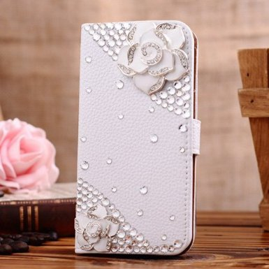 Incore Creative Samsung Galaxy Grand Duos I9080 I9082 Bling Jewelry Diamond Gem Leather Smart Case Cover With Magnetic Flip Horizontals & Card Holder - Greenish Lily Flower