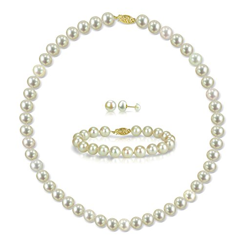 14k Yellow Gold 8-8.5mm White Freshwater Cultured Pearl Necklace 18