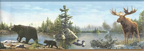 Bear Wall Border - Chesapeake HTM48541B Frida Blue Lake Portrait Wallpaper Border
