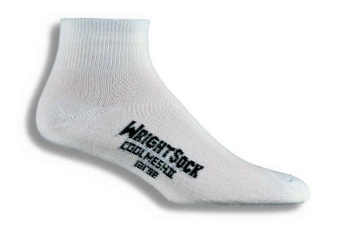 Wrightsock Coolmesh II Quarter Running Socks - 2 Pack, White, (Wrightsock Double Layer Running Quarter)