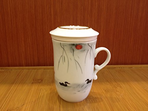 Top Grade Chinese Tea Cup with Infuser (Hand-painted Lakeside 220ml) -