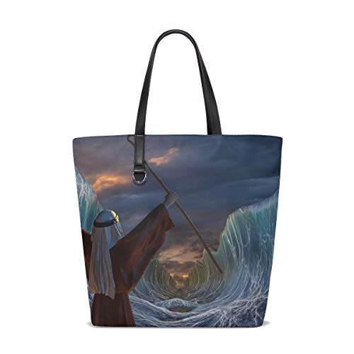 3D Moses Exodus Route Red Sea Fashion Casual Tote Bag Shoulder Handbag for Women -